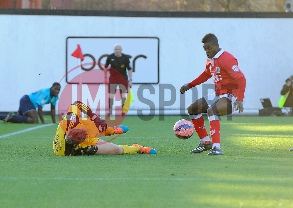 Bristol City's Kieran Agard is denied by AFC Telford's Jonathan Hedge  - Photo mandatory by-line: Joe Meredith/JMP - Mobile: 07966 386802 - 07/12/2014 - SPORT - Football - Bristol - Ashton Gate - Bristol City v AFC Telford United - FA Cup