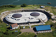 Nederland, Noord-Holland, Pampus, 14-07-2008; Forteiland Pampus, Rijksmonument, onderdeel van de Stelling van Amsterdam, wereld erfgoed onderdeel van de Werelderfgoedlijst van Unesco; het fort is gerenoveerd, voorzien van een nieuw dak en koepels; artillerie, geschut, Eerste Wereldoorlog, mobilisatie;.Island Fort, was built at the end of the 19th century as part of the Stelling van Amsterdam, a ring of 42 defensive works around the capital.. .luchtfoto (toeslag); aerial photo (additional fee required); .foto Siebe Swart / photo Siebe Swart