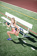 Emma Coburn training at Harlow Platts Park and Fairview High School for Spring Break Fitness Syllabus in Boulder, CO, USA, on 14 February, 2017.