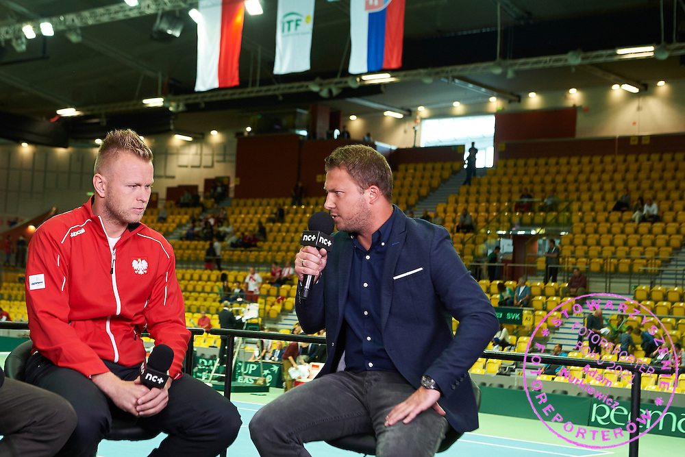 (L) Grzegorz Panfil and (R) journalist Bartosz Ignacik (Canal +) during Davis Cup Tie World Group Play-off Poland v Slovakia at Gdynia Arena Hall in Gdynia, Poland.<br /> <br /> Poland, Gdynia, September 20, 2015<br /> <br /> Picture also available in RAW (NEF) or TIFF format on special request.<br /> <br /> For editorial use only. Any commercial or promotional use requires permission.<br /> <br /> Adam Nurkiewicz declares that he has no rights to the image of people at the photographs of his authorship.<br /> <br /> Mandatory credit:<br /> Photo by &copy; Adam Nurkiewicz / Mediasport