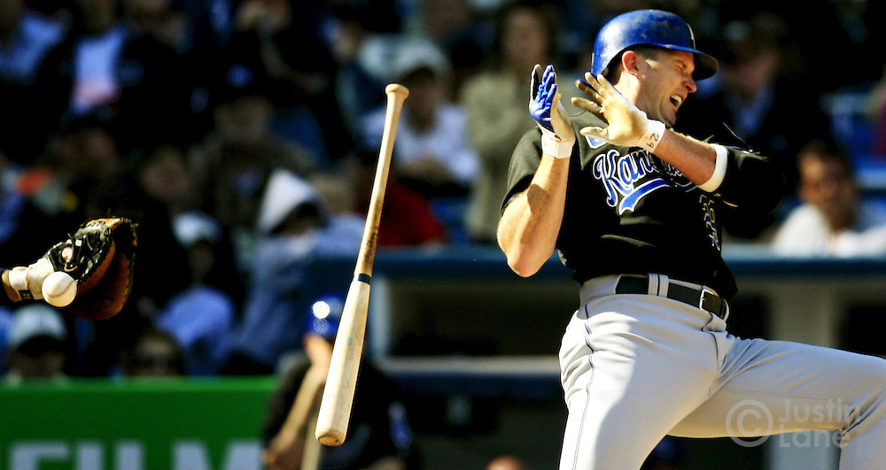 The Royals' Mike Sweeney reacts after getting hit in the hand with a pitch during the Kansas City Royals game against the New York Yankees at Yankees Stadium Tuesday 11 April 2006 in New York.