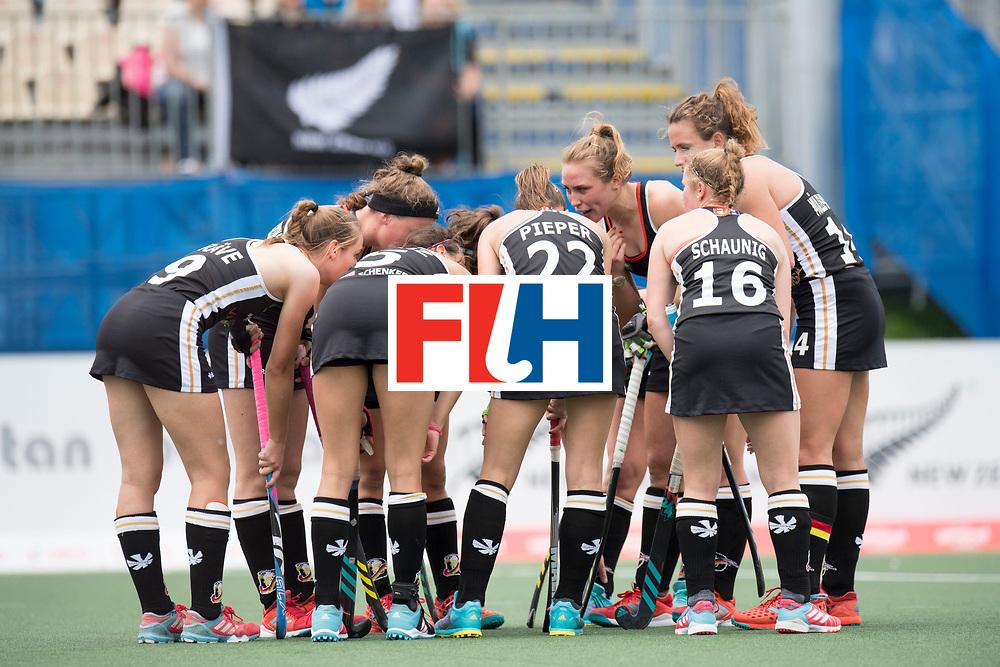 AUCKLAND - Sentinel Hockey World League final women<br /> Match id 10293<br /> 03 England v Germany <br /> Foto: Penalty corner huddle Germany.<br /> WORLDSPORTPICS COPYRIGHT FRANK UIJLENBROEK