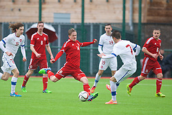 YSTRAD MYNACH, WALES - Thursday, February 19, 2015: Wales' Matthew Smith in action against Czech Republic during a friendly match at the Centre of Sporting Excellence. (Pic by Carl Robertson/Propaganda)