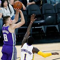 08 October 2017: Sacramento Kings guard Bogdan Bogdanovic (8) takes a jump shot over Los Angeles Lakers guard Kentavious Caldwell-Pope (1) during the LA Lakers 75-69 victory over the Sacramento Kings, at the T-Mobile Arena, Las Vegas, Nevada, USA.