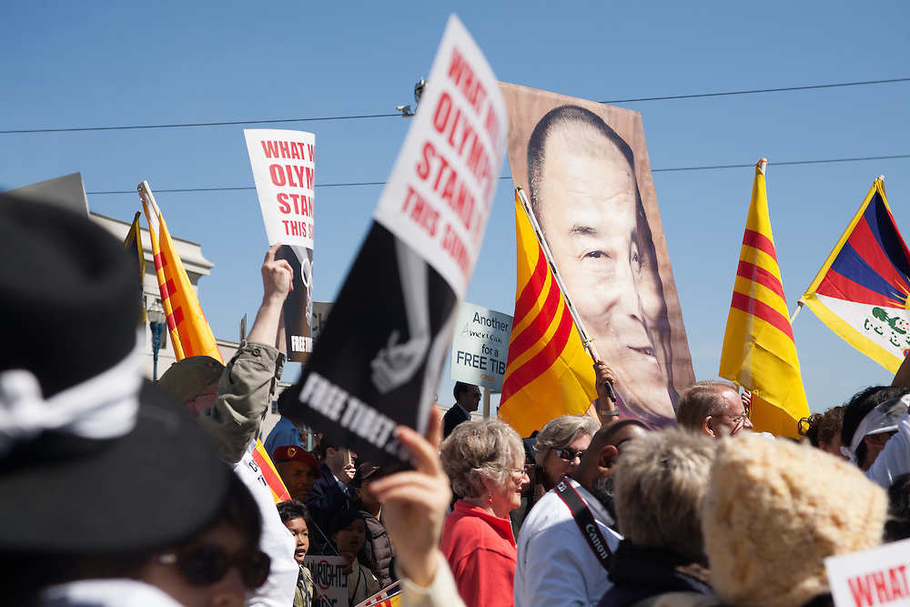 Protesters march for a free Tibet