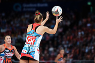 SYDNEY, NSW - JUNE 16: Sarah Klau of the Swifts passes the ball during the round 8 Super Netball match between the Sydney Swifts and the Giants at Qudos Bank Arena on June 16, 2019 in Sydney, Australia.(Photo by Speed Media/Icon Sportswire)