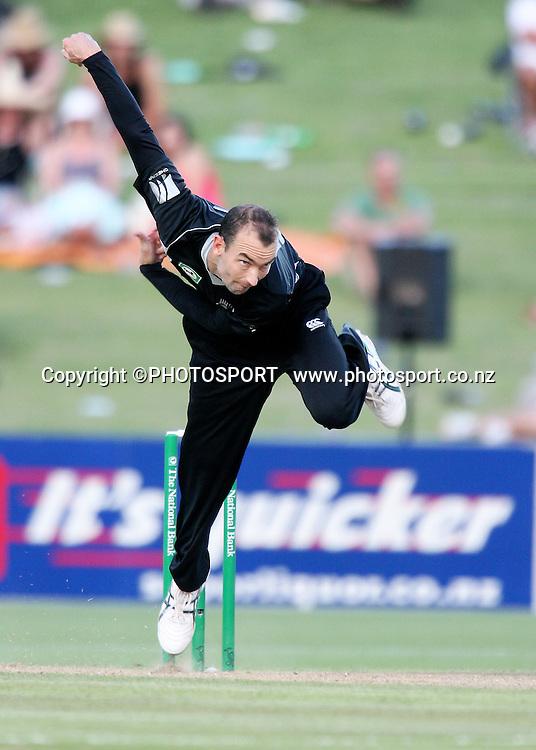 Andy Mckay bowls on debut. New Zealand Black Caps v Bangladesh. 1st ODI. McLean Park, Napier. Friday 05 February 2010  Photo: John Cowpland/PHOTOSPORT