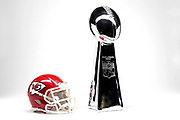Detailed view of Kansas City Chiefs helmet and Vince Lombardi Trophy, annually awarded to the winner of the Super Bowl.
