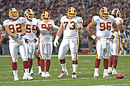 Washington Redskins' (L-R) Demetric Evans, LaVar Arrington, Lemar Marshall, Ryan Boschetti and Cornelius Griffinat wait for the St. Louis Rams offense during a second half time-out, at the Edward Jones Dome in St. Louis, Missouri, December 4, 2005.  The Redskins beat the Rams 24-9.