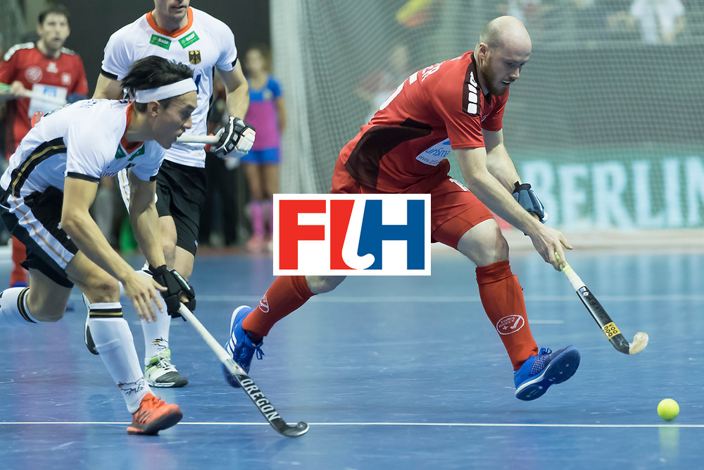Hockey, Seizoen 2017-2018, 09-02-2018, Berlijn,  Max-Schmelling Halle, WK Zaalhockey 2018 MEN, Germany - Switzerland 3-0, Florian Feller. Worldsportpics copyright Willem Vernes