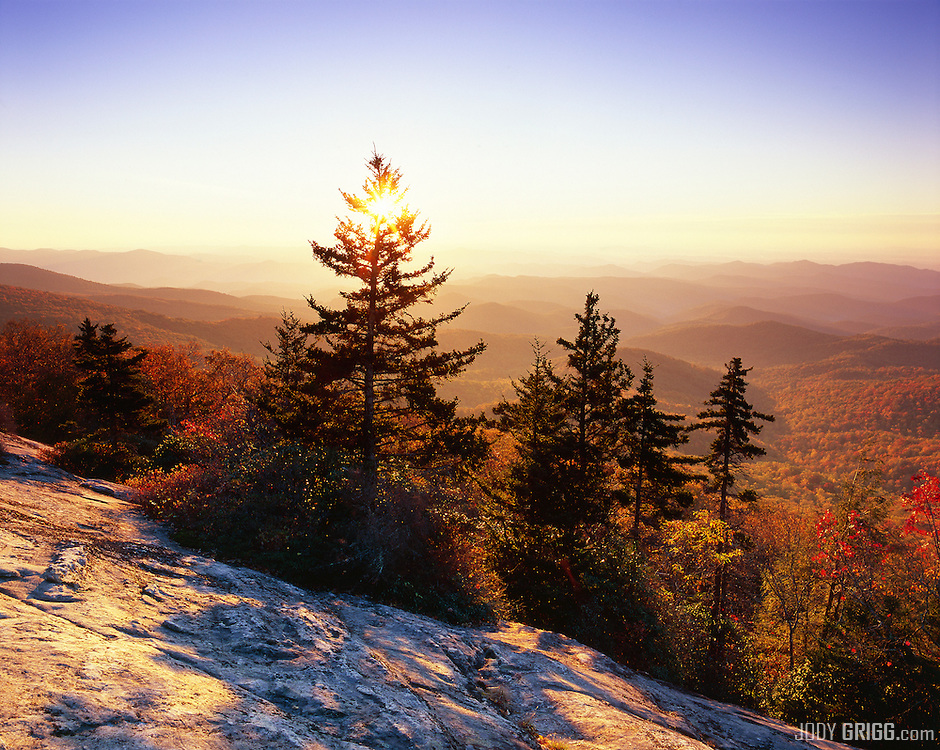 Sunrise is viewed at Beacon Heights located just off the Blue Ridge Parkway near Grandfather Mountain, North Carolina.
