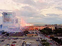Stock photo of fireworks and smoke at the opening night of the Toyota Center, new home of the Houston Rockets and Comets.