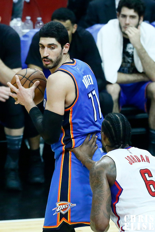 16 January 2017: LA Clippers center DeAndre Jordan (6) defends on Oklahoma City Thunder center Enes Kanter (11) during the LA Clippers 120-98 victory over the Orlando Magic, at the Staples Center, Los Angeles, California, USA.
