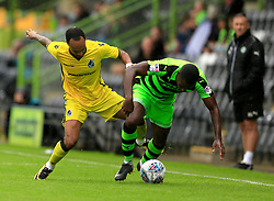 Byron Moore of Bristol Rovers tries to win the ball - Mandatory by-line: Paul Roberts/JMP - 22/07/2017 - FOOTBALL - New Lawn Stadium - Nailsworth, England - Forest Green Rovers v Bristol Rovers - Pre-season friendly