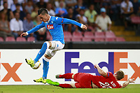 Jose Maria Callejon Napoli, Laurens De Bock Brugge, <br /> Napoli 17-09-2015 Stadio San Paolo <br /> Football Calcio UEFA Europa League <br /> Fase a gironi Gruppo D, Group stage Group D. Napoli - Brugge.<br /> Foto Cesare Purini / Insidefoto