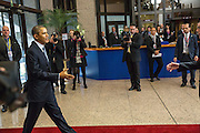 The United States President Barack Obama arrives to the European Council for a meeting in the EU-US Summit, in Brussels, Wednesday 26, March 2014.<br /> This is the first visit for President Barack Obama to the European Institutions in Brussels. Photo by Delmi Alvarez