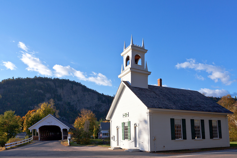 Covered bridge (1862) and its neighboring Stark Union Church (1853)  church bring artists and photographers to the tiny New Hampshire town of Stark.  The bridge has been rebuilt several times, is located on North Road in Stark Village, and crosses over the Upper Ammonoosuc River