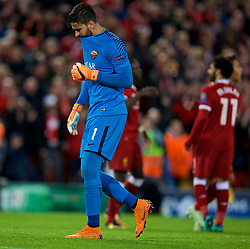 LIVERPOOL, ENGLAND - Tuesday, April 24, 2018: AS Roma's goalkeeper Alisson Becker looks dejected as Liverpool score the third goal during the UEFA Champions League Semi-Final 1st Leg match between Liverpool FC and AS Roma at Anfield. (Pic by David Rawcliffe/Propaganda)