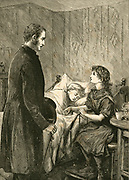 'Vicar visiting a little girl in East End of London as she holds the hand of her dying sister. The illness ''Toy Fever'', probably Epidemic typhus (Rikettsia), has already killed her stepmother.  Illustration, London, 1883.'
