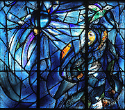 Abraham's dream of alliance, stained glass window, 1974, by Marc Chagall, 1887-1985, with the studio of Jacques Simon, in the axial chapel of the apse of the Cathedrale Notre-Dame de Reims or Reims Cathedral, Reims, Champagne-Ardenne, France. The cathedral was built 1211-75 in French Gothic style with work continuing into the 14th century, and was listed as a UNESCO World Heritage Site in 1991. Picture by Manuel Cohen