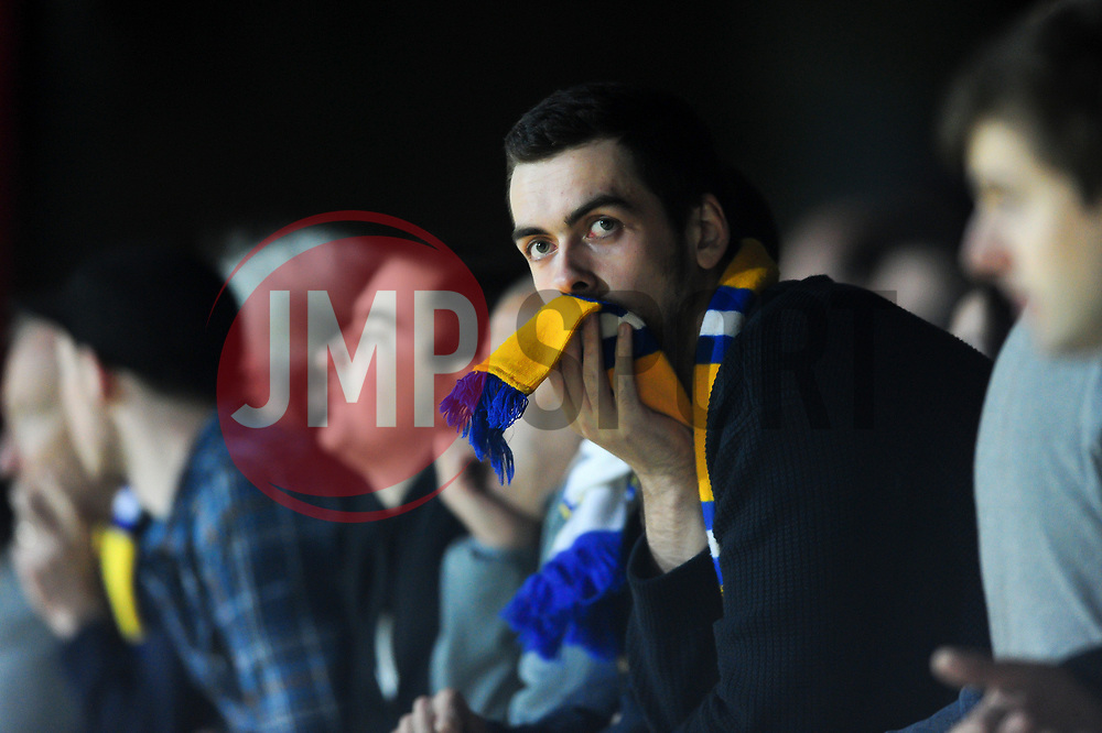 Leeds United fans react to the action - Mandatory by-line: Patrick Khachfe/JMP - 04/04/17 - FOOTBALL - Griffin Park - Brentford, London - Brentford v Leeds United - Sky Bet EFL Championship
