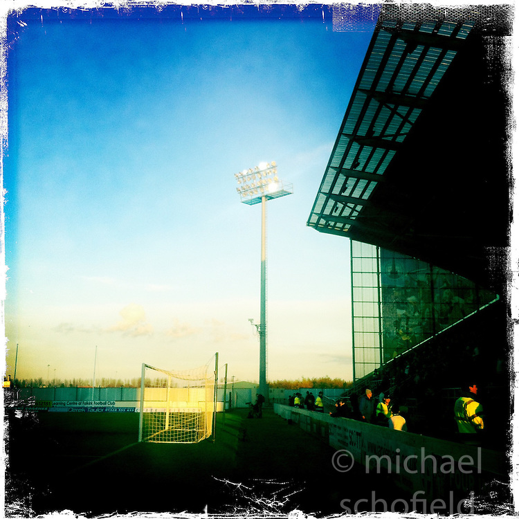 Falkirk FC stadium..Hipstamatic images taken on an Apple iPhone..©Michael Schofield.