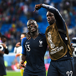 Ngolo Kante and Benjamin Mendy of France celebrate his victory during the Semi Final FIFA World Cup match between France and Belgium at Krestovsky Stadium on July 10, 2018 in Saint Petersburg, Russia. (Photo by Anthony Dibon/Icon Sport)