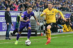 01.04.2019, Sparkassen Erzgebirgsstadion, Aue, GER, 2. FBL, FC Erzgebirge Aue vs SG Dynamo Dresden, 27. Runde, im Bild Zweikampf zwischen Lucas Roeser (SG Dynamo Dresden) re. und Filip Kusic (FC Erzgebirge Aue) li. // during the German 2. Bundesliga 27th round match between FC Erzgebirge Aue and SG Dynamo Dresden at the Sparkassen Erzgebirgsstadion in Aue, Germany on 2019/04/01. EXPA Pictures © 2019, PhotoCredit: EXPA/ Eibner-Pressefoto/ Bert_Harzer<br /> <br /> *****ATTENTION - OUT of GER*****