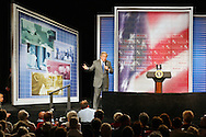 President George W. Bush speaks during near Tampa, Florida, during a promotional swing for his Medicare plan.