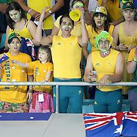 Australia Fans at the water polo, Australia v Montenegro..Yingdong Natatorium of National Olympic Sports Center 18-8-08   ..Photo: Grant Treeby/WSP