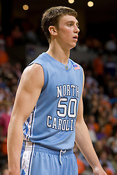 North Carolina forward Tyler Hansbrough (50).  The Virginia Cavaliers men's basketball team fell to the #3 ranked North Carolina Tar Heels 75-74 at the John Paul Jones Arena in Charlottesville, VA on February 12, 2008.