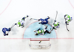 Damien Fleury of France against Andrej Tavzelj of Slovenia, Matija Pintaric of Slovenia, Ken Ograjensek of Slovenia and Matic Podlipnik of Slovenia during the 2017 IIHF Men's World Championship group B Ice hockey match between National Teams of France and Slovenia, on May 15, 2017 in AccorHotels Arena in Paris, France. Photo by Vid Ponikvar / Sportida