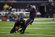 Houston Texans kicker Ka'imi Fairbairn (7) and Houston Texans punter Trevor Daniel (8) in action during the NFL week 8 regular season football game against the Miami Dolphins on Thursday, Oct. 25, 2018 in Houston. The Texans won the game 42-23. (©Paul Anthony Spinelli)