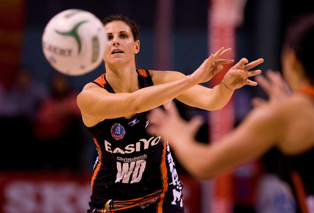 Tactix's Anna Galvan gets the ball away against the Southern Steel in the ANZ Netball Championship, CBS Arena, Christchurch, New Zealand, Sunday, April 15, 2012. Credit:SNPA / Dianne Manson