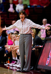 February 18, 2010; Stanford, CA, USA; Stanford Cardinal head coach Tara VanDerveer argues a call during the first half against the Oregon Ducks at Maples Pavilion.  Stanford defeated Oregon 104-60.