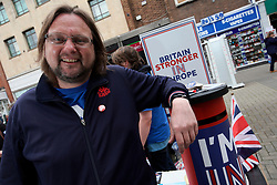UK ENGLAND CANTERBURY 14MAY16 - Ray Douglas (40), a volunteer for the Vote Remain campaign poses for a photo at their stall in Canterbury High Street.<br /> <br /> jre/Photo by Jiri Rezac<br /> <br /> © Jiri Rezac 2016
