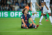 Adrien Rabiot (PSG) received a yellow card during the French Championship Ligue 1 football match between Paris Saint-Germain and AS Saint-Etienne on September 14, 2018 at Parc des Princes stadium in Paris, France - Photo Stephane Allaman / ProSportsImages / DPPI
