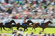 PLATFORM NINETEEN (7) ridden by Clifford Lee and trained by Michael Bell wins for the fourth time in a row whilst taking The Little Green Rascals Childrens Nurseries Stakes over 2m (£15,000)   during the Family Race Day held at York Racecourse, York, United Kingdom on 8 September 2019.