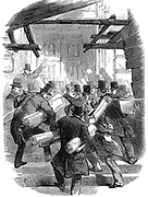 Railway mania: Rushing to deposit railway plans at the Board of Trade before the deadline for submission. From 'The Illustrated London News' 6 December 1845.