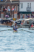 """Henley on Thames, United Kingdom, 8th July 2018, Sunday,  """"Henley Royal Regatta"""",  Double Sculls Challenge Cup , Finalists, Bow Angus GROOM, Stroke Jack BEAUMONT GBR M2X, Leander Club,after crossing  the Finish Line to win,   View, Henley Reach, River Thames, Thames Valley, England, UK."""
