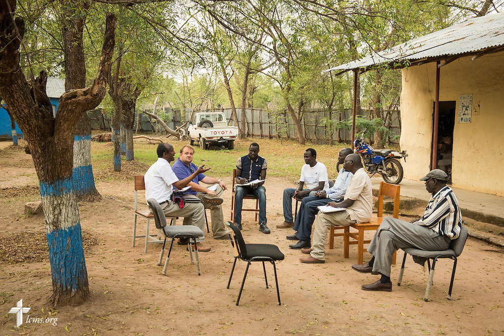Jacob Fiene, manager of Health and Medical Projects at The Lutheran Church–Missouri Synod, meets with officials from the Mekane Yesus East Gambella Bethel Synod in Itang, Ethiopia, on Friday, Nov. 14, 2014. LCMS Communications/Erik M. Lunsford