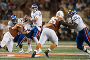 AUSTIN, TX - NOVEMBER 7:  Ryan Willis #13 of the Kansas Jayhawks drops back to pass against the Texas Longhorns on November 7, 2015 at Darrell K Royal-Texas Memorial Stadium in Austin, Texas.  (Photo by Cooper Neill/Getty Images) *** Local Caption *** Ryan Willis