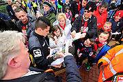 AFC Bournemouth midfielder Juan Manuel Iturbe signing autographs outside the Vitality Stadium before The FA Cup match between Bournemouth and Everton at the Goldsands Stadium, Bournemouth, England on 20 February 2016. Photo by Graham Hunt.