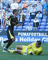 Photo: Steve Bond/Richard Lane Photography. Reading v Watford. Coca Cola Championship. 26/09/2009. Danny Graham turnsd away after seeing his header beat prone keeper Adam Federici