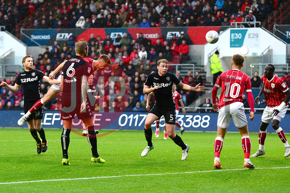 Jens Hegeler of Bristol City heads towards goal - Mandatory by-line: Dougie Allward/JMP - 21/10/2017 - FOOTBALL - Ashton Gate Stadium - Bristol, England - Bristol City v Leeds United - Sky Bet Championship