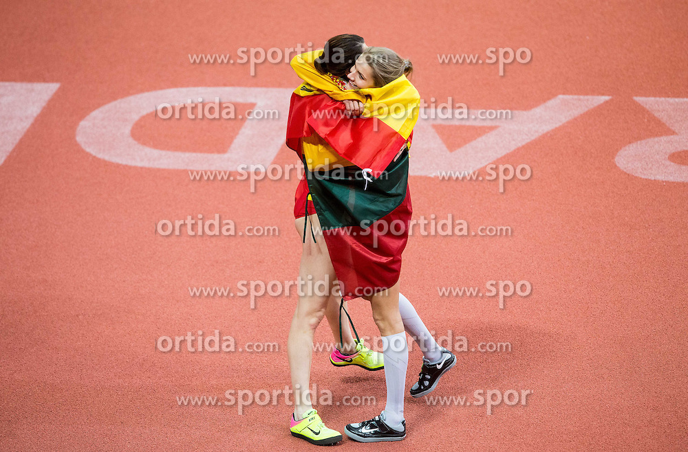 Winner Airinė Palšytė of Lithuania and second placed Ruth Beitia of Spain celebrate after  the High Jump Women Final on day two of the 2017 European Athletics Indoor Championships at the Kombank Arena on March 4, 2017 in Belgrade, Serbia. Photo by Vid Ponikvar / Sportida