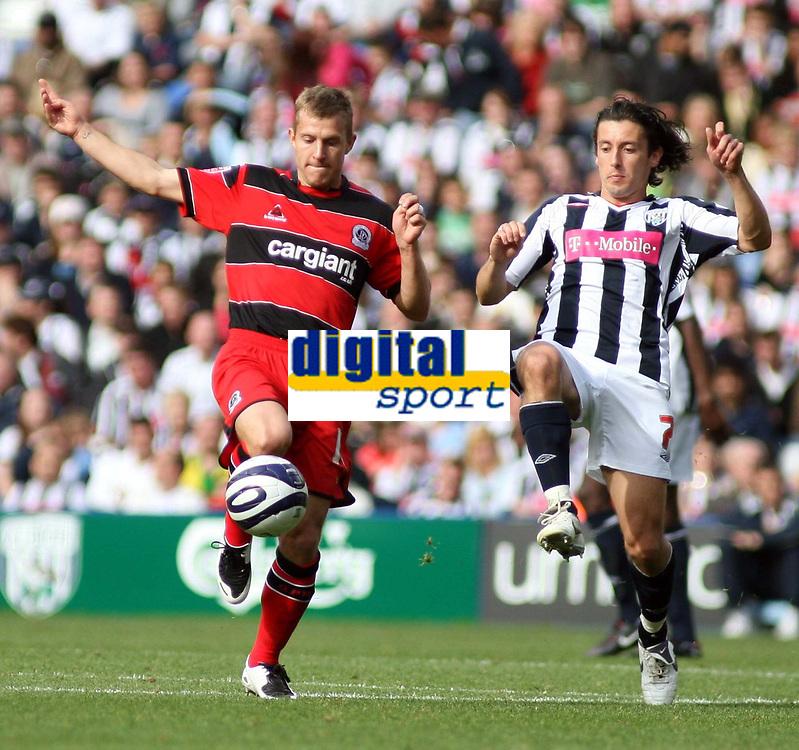 Photo: Mark Stephenson.<br /> West Bromwich Albion v Queens Park Rangers. Coca Cola Championship. 30/09/2007.Qpr's Martin Rowlands  (L)  holds off West Brom's Robert Koren