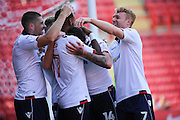 Bolton Wanderers forward Gary Madine (14) celebrates after scoring a goal 0-1 during the EFL Sky Bet Championship match between Charlton Athletic and Bolton Wanderers at The Valley, London, England on 27 August 2016. Photo by Matthew Redman.