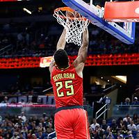25 February 2017: Atlanta Hawks forward Thabo Sefolosha (25) goes for the reverse dunk during the Orlando Magic 105-86 victory over the Atlanta Hawks, at the Amway Center, Orlando, Florida, USA.