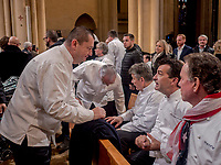 Paul Bocuse's funeral took place in the cathedral St Jean, Lyon.<br /> Christophe Marguin & Yannick Alleno, chefs
